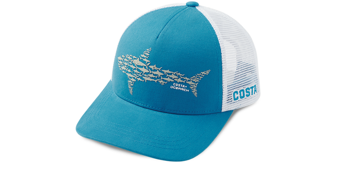 Ocearch Huddle Shark Trucker Hat - Costa Blue/White