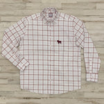 MSU Bulldog Silhouette Big Plaid Button Up