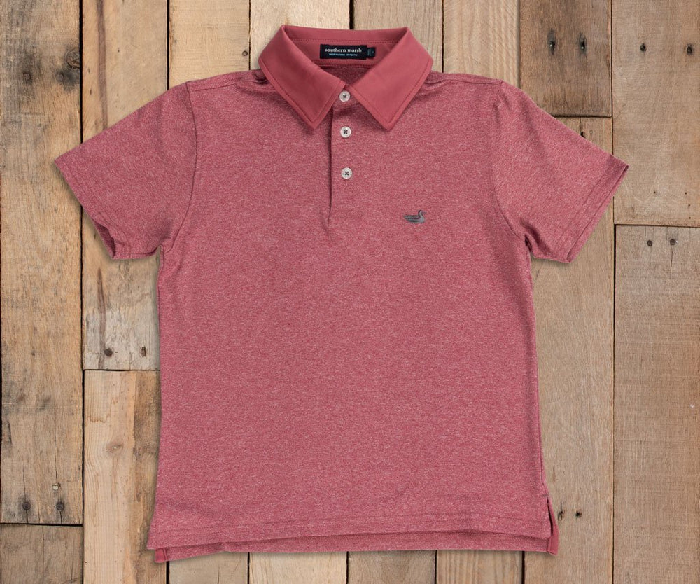 Youth Rutledge Heather Performance Polo - Maroon