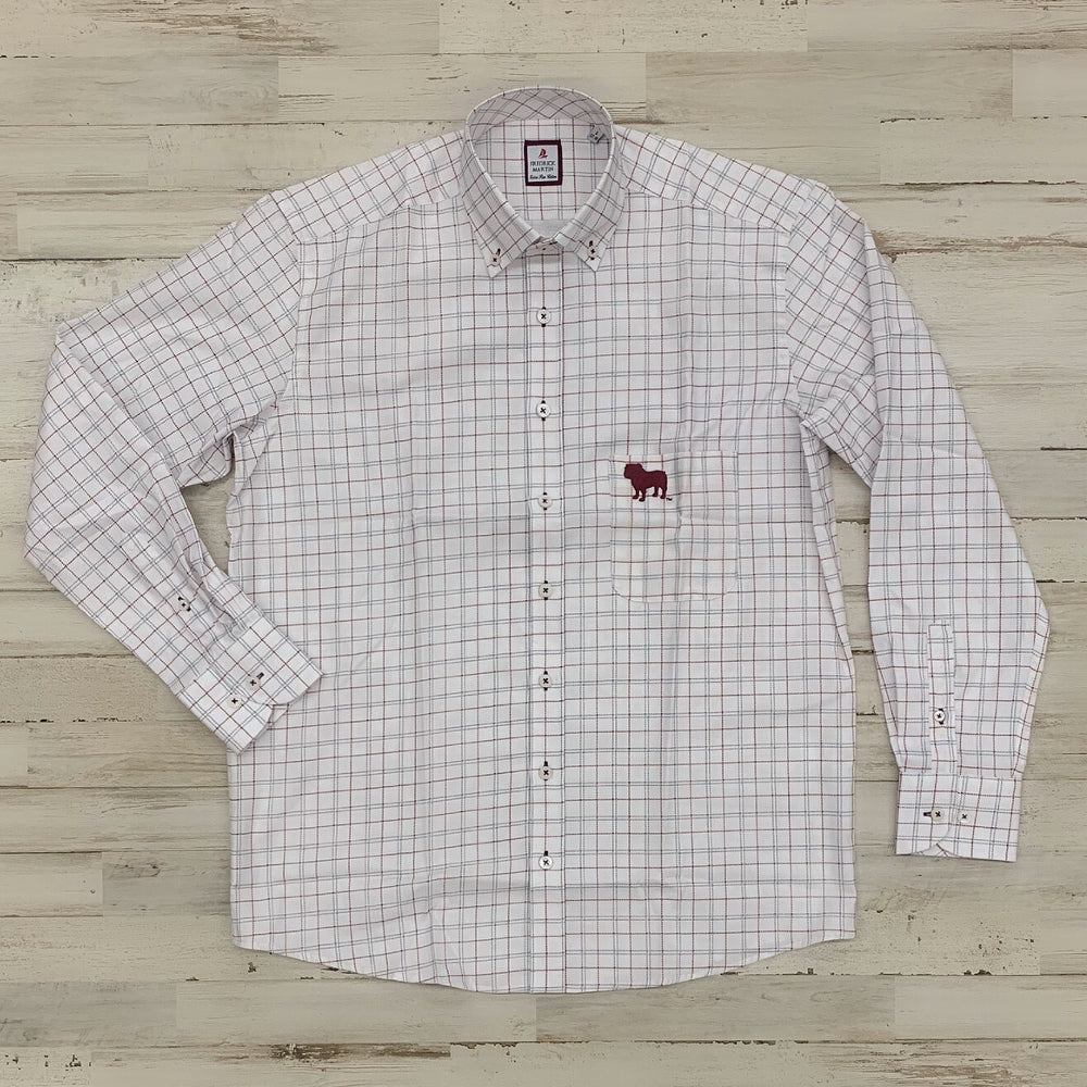 MSU Bulldog Big Stitched Plaid Button Up