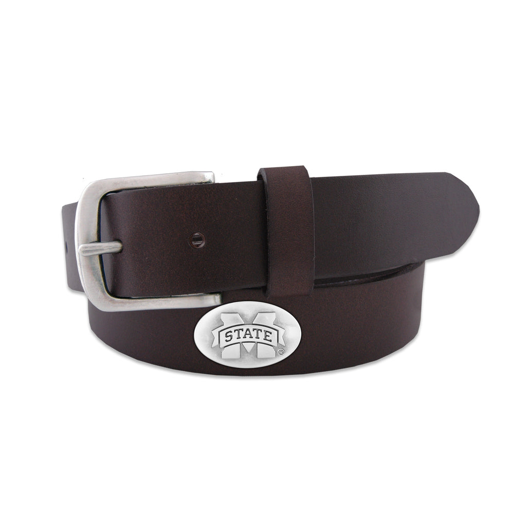 MSU Brown Leather Concho Belt