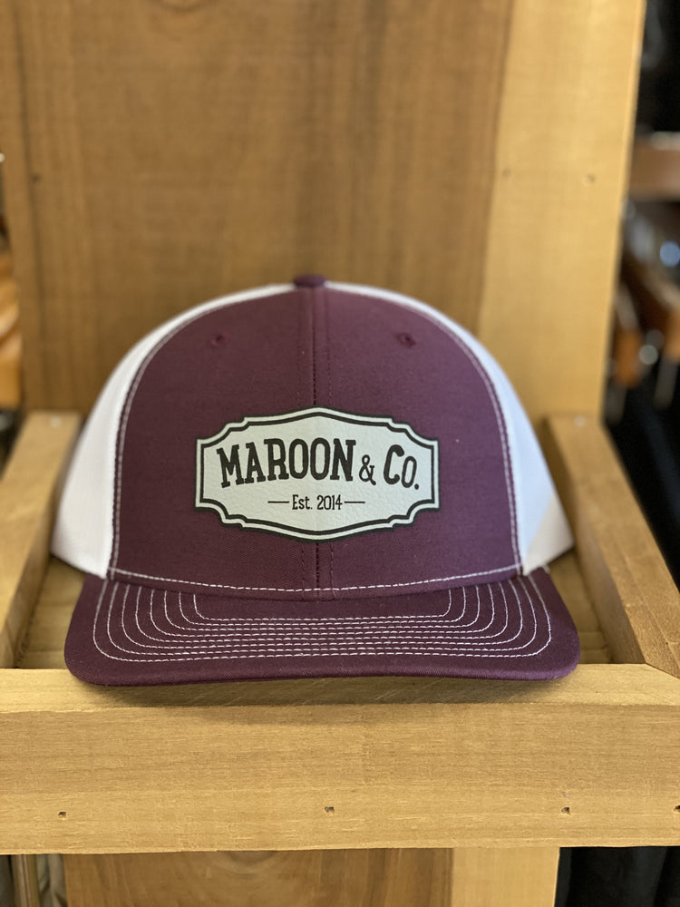 Maroon & Co Leather Patch Hat