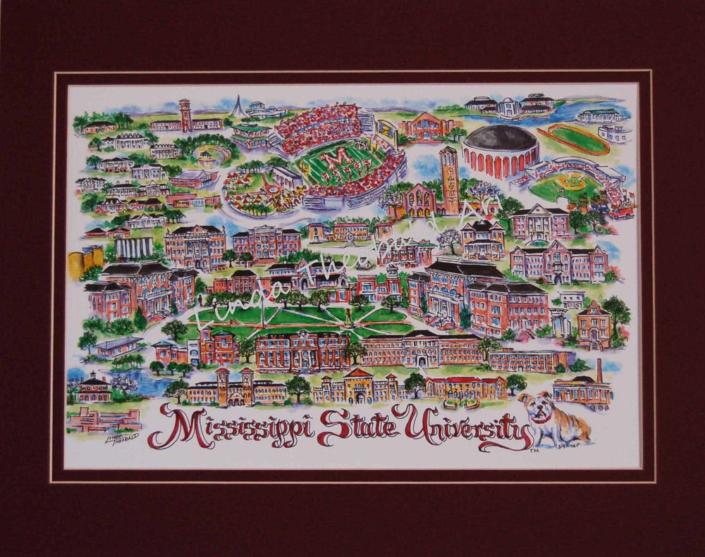 Hail State Watercolor Matted Print