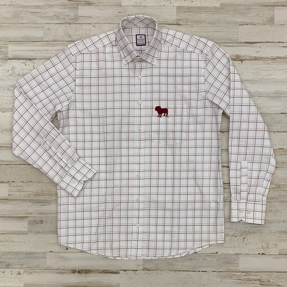 MSU Bulldog Fine Line Plaid Button Up