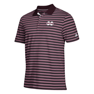 MSU Ultimate 365 Stripe Polo- Mrn/Blk