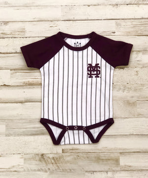 Infant MSU Baseball Stripe Romper