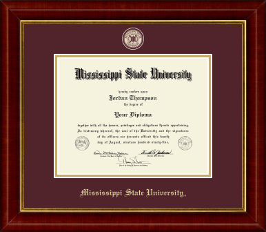 Masterpiece Medallion Diploma Frame in Redding with Maroon/Gold mats