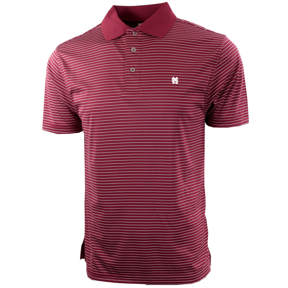 MSU Baseball Interlocking Pencil Stripe Polo