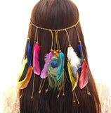 NATIVE AMERICAN INDIAN HIPPIE FEATHER HEADBAND (A) - QKiddo.com