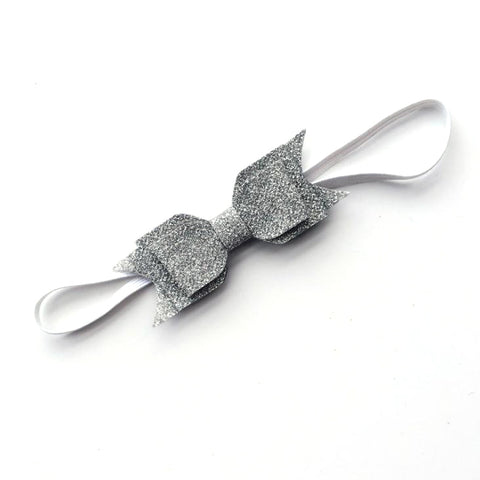 LAYERED GLITTER BOW HEADBAND (SILVER) - QKiddo.com
