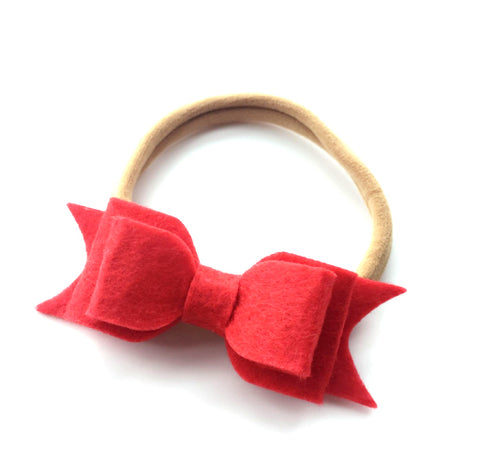 WOOL FELT BOW HEADBAND (RED) - QKiddo.com