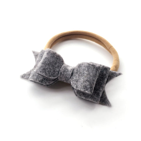 WOOL FELT BOW HEADBAND (GREY) - QKiddo.com