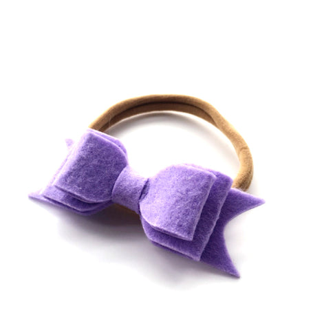 WOOL FELT BOW HEADBAND (PURPLE) - QKiddo.com