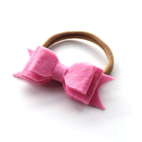 WOOL FELT BOW HEADBAND (DARK PINK) - QKiddo.com
