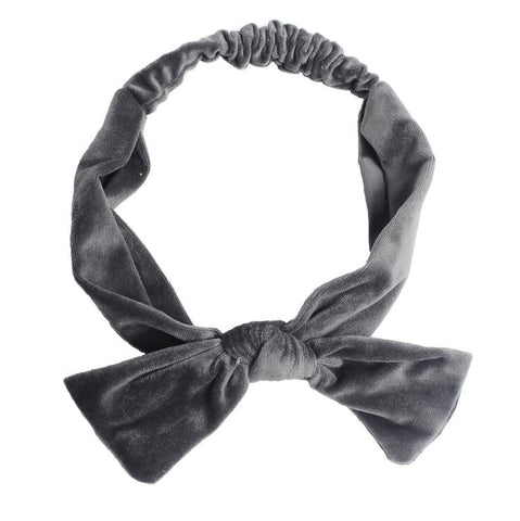 handmade LARGE VELVET BOW HEADBAND (GREY)