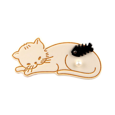 FISH DREAMER CREAM KITTEN (DUCK HAIR CLIP) - QKiddo.com