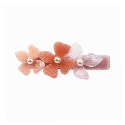 PEARL DE FLORA (DUCK HAIR CLIP, THREE FLOWERS, PEACH) - QKiddo.com