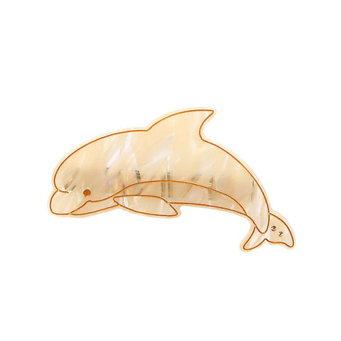 OCEAN GUARDIAN – DOLPHIN (SPRING HAIR CLIP, GOLD CREAM) - QKiddo.com
