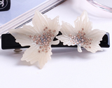 CREAMY MAPLE LEAVE SPRING HAIR CLIP - QKiddo.com