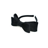 VELVET DOUBLE HAIR BOW HAIR BAND (BLACK) - QKiddo.com