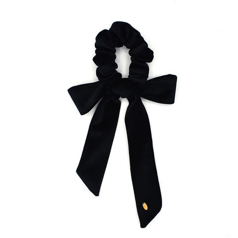 VELVET HAIR TIE BOW / SCRUNCHIE (BLACK) - QKiddo.com