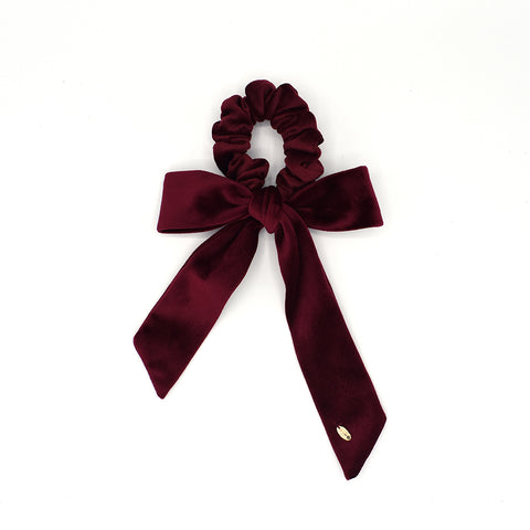 VELVET HAIR TIE BOW / SCRUNCHIE (BURGUNDY) - QKiddo.com