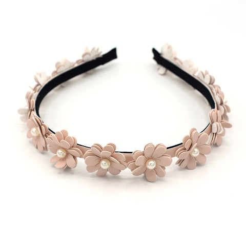 LEATHER FLOWER HEADBAND (LIGHT PINK) - QKiddo.com