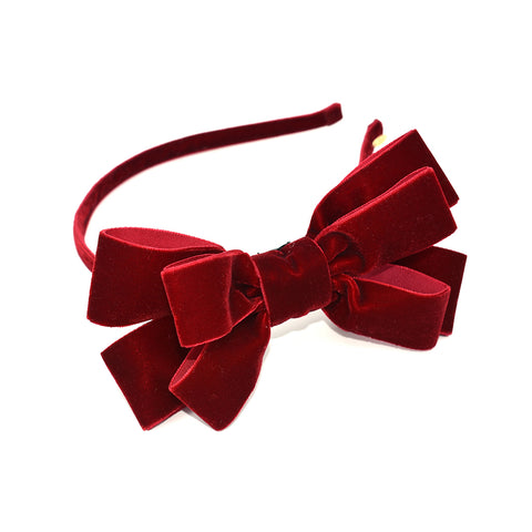 VELVET RED POP UP BOW HEADBAND - QKiddo.com