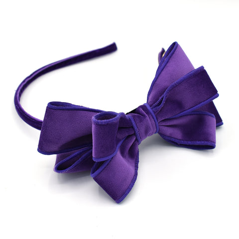VELVET PURPLE POP UP BOW HEADBAND - QKiddo.com