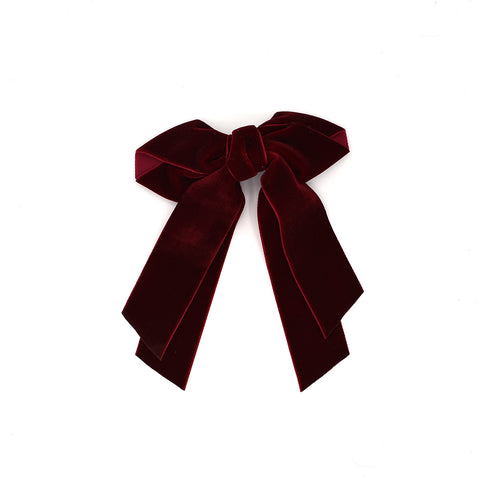 VELVET VINTAGE HAIR BOW CLIP (RED) - QKiddo.com