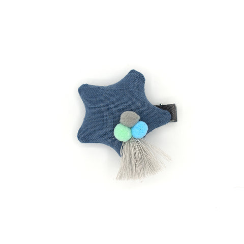 POM POM PUFFY STAR HAIR CLIP (BLUE) - QKiddo.com