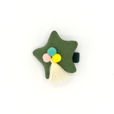 POM POM PUFFY STAR HAIR CLIP (GREEN) - QKiddo.com