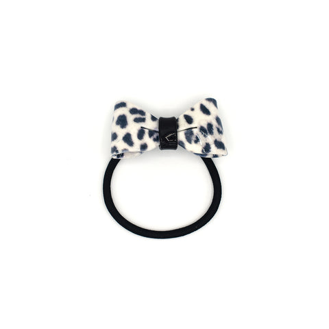 SNOW LEOPARD BOW HAIR TIE (WHITE) - QKiddo.com