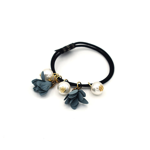 DOUBLE FLOWERS HAIR TIE BRACELET (BLUE) - QKiddo.com