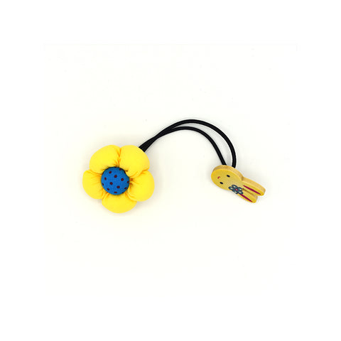 BABY FLOWER WITH BUNNY HAIR TIE (YELLOW) - QKiddo.com