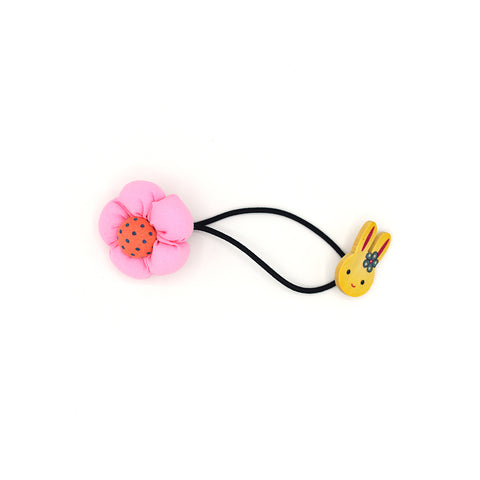 BABY FLOWER WITH BUNNY HAIR TIE (BABY PINK) - QKiddo.com