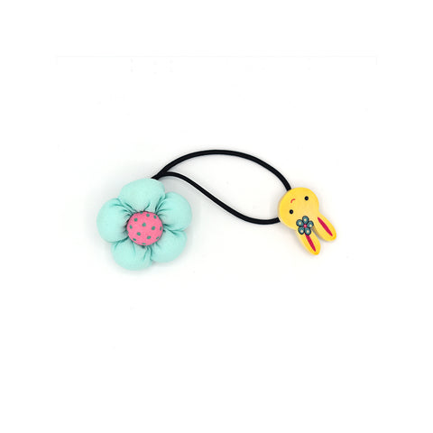 BABY FLOWER WITH BUNNY HAIR TIE (BABY BLUE) - QKiddo.com