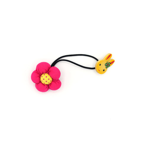 BABY FLOWER WITH BUNNY HAIR TIE (HOT PINK) - QKiddo.com