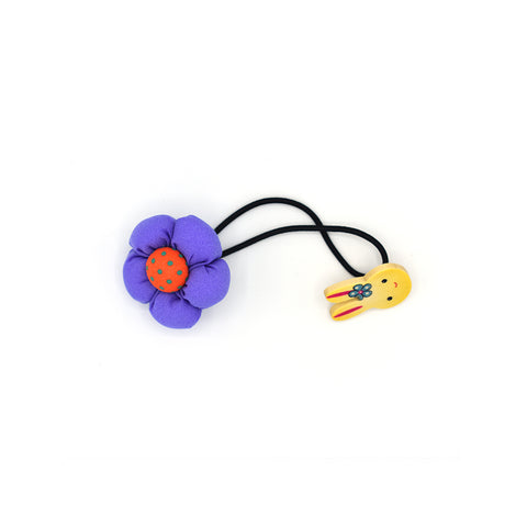 BABY FLOWER WITH BUNNY HAIR TIE (PURPLE) - QKiddo.com