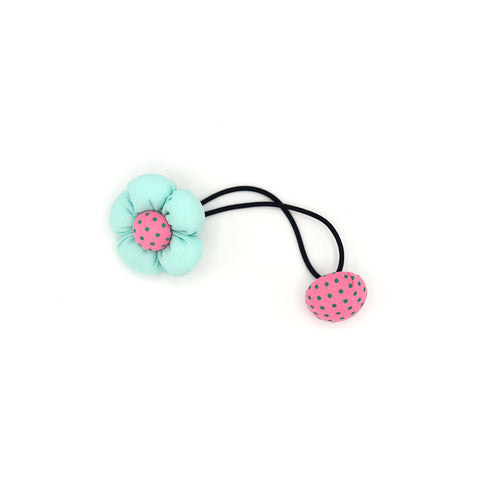 BABY FLOWER WITH BUTTON HAIR TIE (BABY BLUE) - QKiddo.com