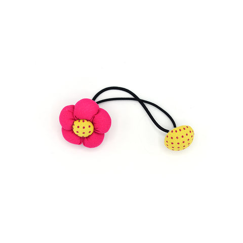BABY FLOWER WITH BUTTON HAIR TIE (HOT PINK) - QKiddo.com