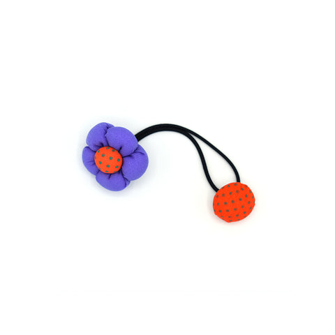 BABY FLOWER WITH BUTTON HAIR TIE (PURPLE) - QKiddo.com