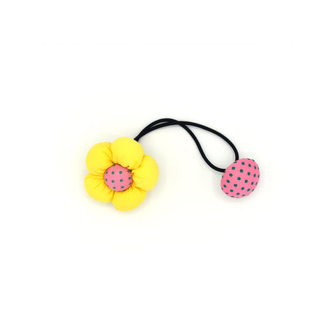 BABY FLOWER WITH BUTTON HAIR TIE (YELLOW) - QKiddo.com