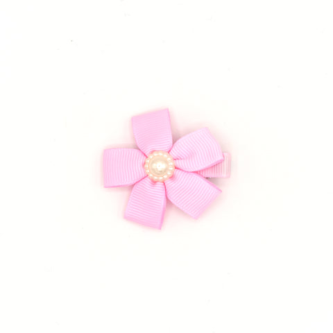 RIBBON FLOWER WITH PEARL HAIR CLIP (PINK) - QKiddo.com