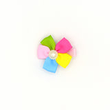 RIBBON FLOWER WITH PEARL HAIR CLIP (RAINBOW) - QKiddo.com