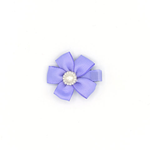 RIBBON FLOWER WITH PEARL HAIR CLIP (PURPLE) - QKiddo.com