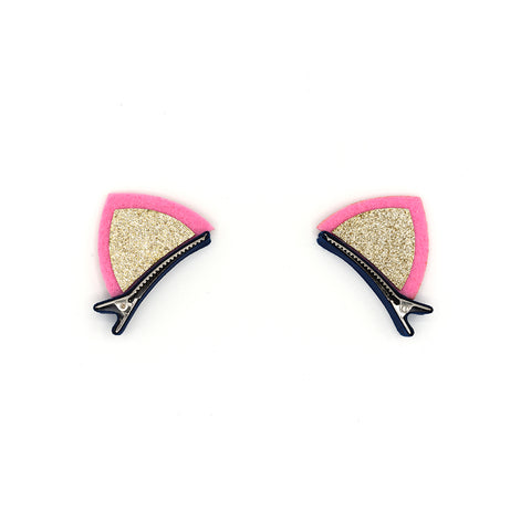 GOLD GLITTERED FELT CAT EARS HAIR CLIPS (1 PAIR) - QKiddo.com