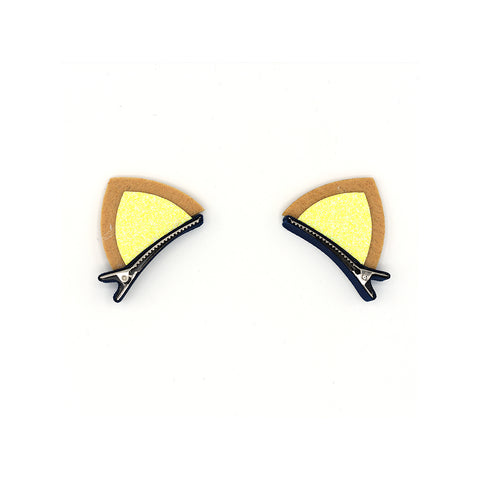 YELLOW GLITTERED FELT CAT EARS HAIR CLIPS (1 PAIR) - QKiddo.com