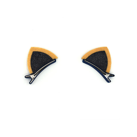 BLACK GLITTERED FELT CAT EARS HAIR CLIPS (1 PAIR) - QKiddo.com