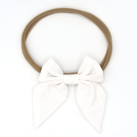 LARGE SAILOR HAIR BOW HEADBAND (WHITE) - QKiddo.com